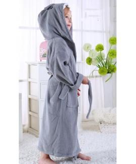 Girl winter shark bathrobe pure cotton absorbent t...