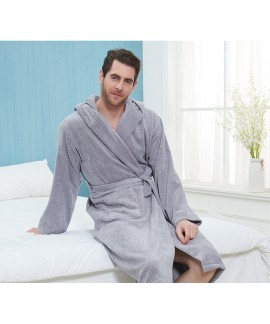 100% Cotton nightgown men's long thick hooded bath...