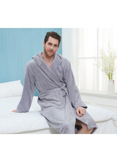 100% Cotton nightgown men's long thick hooded bathrobe letters print winter long-sleeved pajamas wholesale