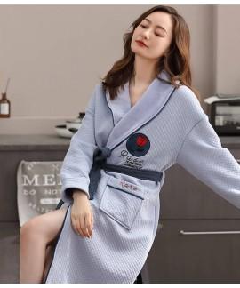 Air cotton pajamas rose print autumn winter thickn...