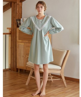 Long-sleeved Sweet Nightdress Thick Cotton Lace Co...