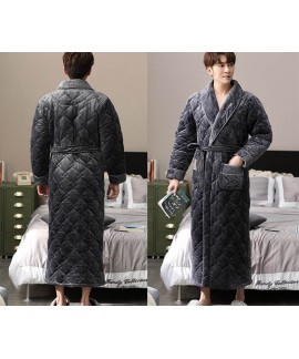 High-end nightgown men's thickened plus velvet plus cotton warm bathrobe quilted winter men's home service wholesale