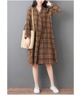 Amazon autumn new cotton and linen plaid print mid...