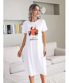 2020 European and American Halloween Theme Funny Cat Pumpkin Print Long Knee-length Nightdress Ladies Pajama Skirt Wholesale