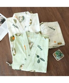 Maternity Nursing Fruit Print Nightgown Cotton Dou...