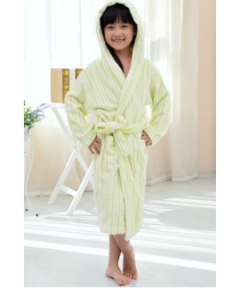 Color striped Boys Girls cotton thickened bathrobe...