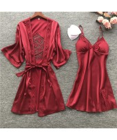 Female Sexy Embroidery Cutout Nightgown Ice Silk P...