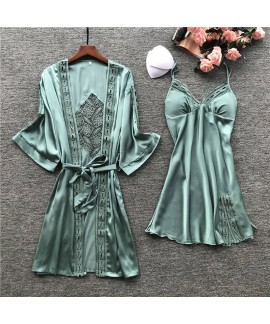 Female Sexy Embroidery Cutout Nightgown Ice Silk Pajamas With Chest Pad Two-piece Suit Robe Wholesale