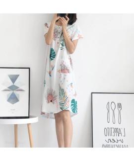 Summer New Women's Cotton Thin Leaves Print Nightd...