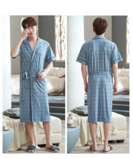 Men's Japanese Green Plaid Kimono Summer Leaves Print Robe Modal Cotton Thin Morning Pajamas For Men Wholesale