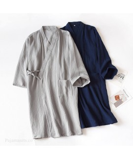 Cotton Double Gauze Nightgown For Men Home Robe La...