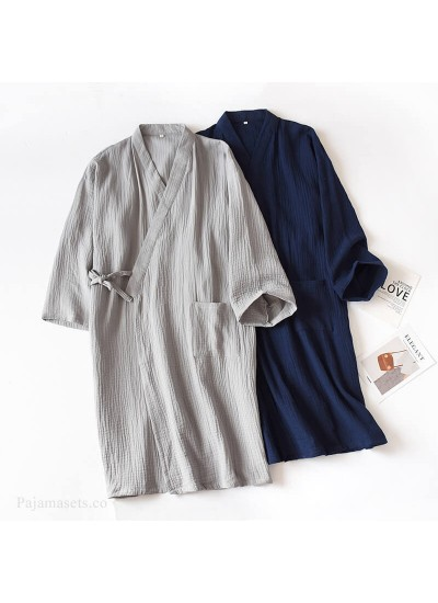 Cotton Double Gauze Nightgown For Men Home Robe Large Size Pajamas Cotton Night wear thin Male Wholesale