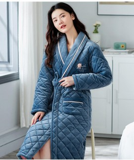 2020 New Triple-layer Cotton Winter Thick Nightgow...