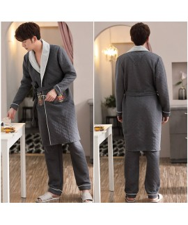 Winter robe new men's three-layer thick printed nightgown and pants suit Wholesale and Retail