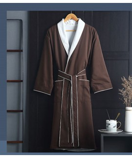Hotel quality Long night gown pure cotton absorbent bathrobe soft and quick-drying thick men's pajamas wholesale