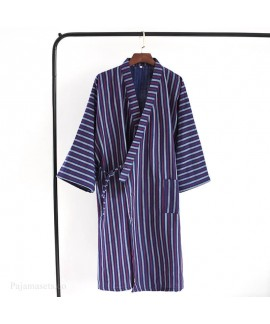 Japanese Thin Men's Gauze Kimono Nightgown Cotton ...