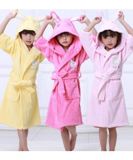 Pure cotton rabbit ears bathrobe thickened childre...