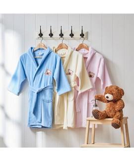 Cotton hooded bathrobe Towel cartoon bear print ki...