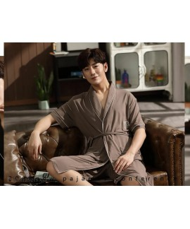 Plus Size Cotton Bathrobe Summer Thin Coffee Men's Modal Nightgown Two-piece Mid-length Pajamas Wholesale