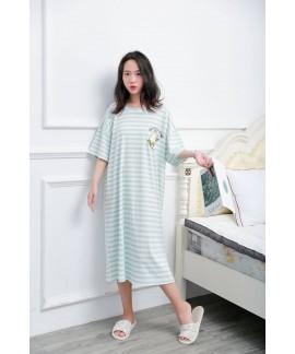 Large Size Striped Fruit Nightdress Female Summer ...