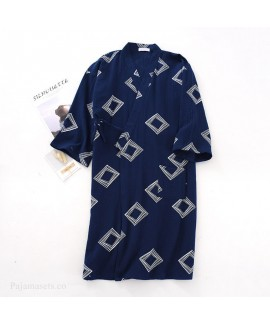 Men's Summer Square Print Thin Nightgown Cotton Do...