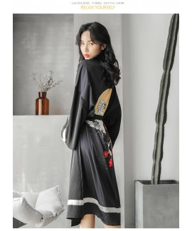 Bathrobe Female Animal Print Ice Silk Long-sleeved Spring Autumn Summer Nightgown Over-the-knee Morning Gown Pajama Wholesale