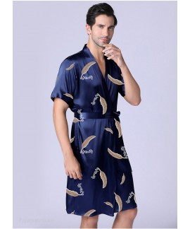 Summer Men's Bathrobe Short-sleeved Navy Nightgown Ice Silk Leaves Printed Thin Home Service Wholesale