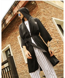 Men's Nightgown Trend Spring Summer Autumn Letters Long-sleeved Bathrobe Thin Silk Hooded Loose Pajamas Wholesale