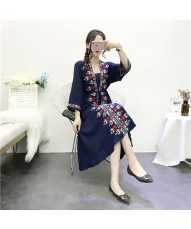 Ethnic style embroidered Cotton nightgown female l...