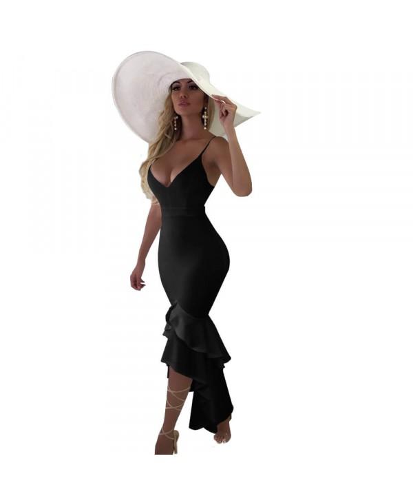 Women's irregular sling long dress, lotus leaf dre...