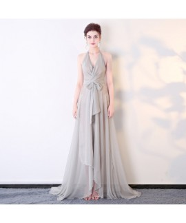 Sexy chiffon perspective deep V night club model wear,  performance long dress
