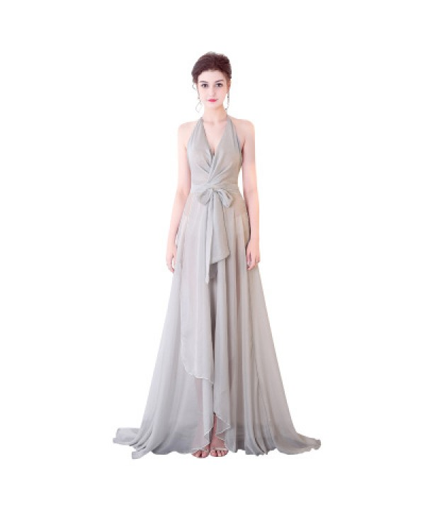 Sexy chiffon perspective deep V night club model wear,  performance long dress
