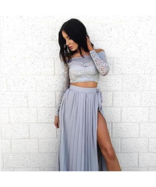 Lace long sleeves, two piece chiffon dress, high split split large skirt
