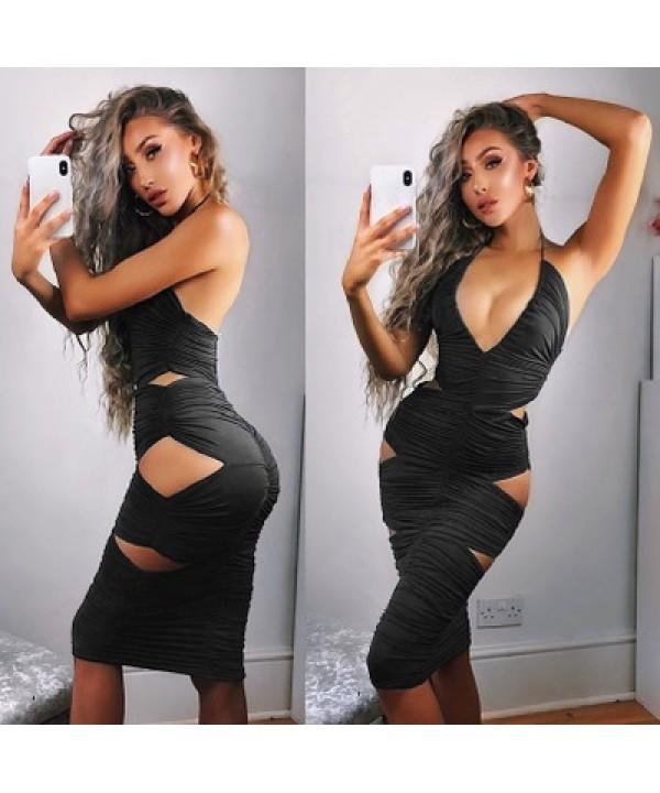 Night party skirt, neck, hole, tight dress, wrinkle sexy night dress