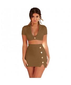 Sexy deer skin V collar button high waist skirt sexy night dress