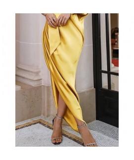 Ladies elegant long dress, evening dress, single shoulder wrinkle split fork dress