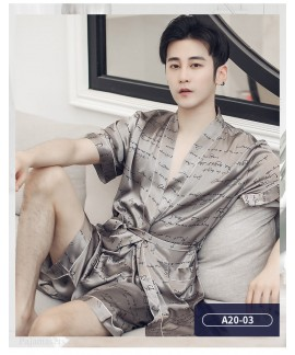 Letters Ice Silk Nightgown For Men Thin Pajamas Sh...