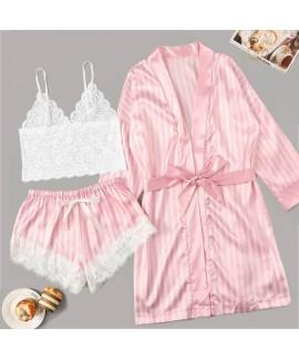 Women Satin Silk Pink Striped Jacket Lace Pajamas ...
