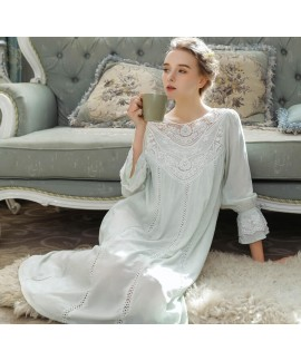 Princess Cotton Sleepwear Spring Summer Female Long Sleeve Lace French Court Retro Women Long Nightgown Elegant Romantic