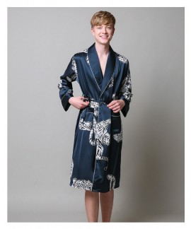 Two-Pieces Silk Nightgown Satin Male Night Wear Lo...