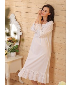 Women Sleepwear Cotton night dress Long Robe Sexy ...
