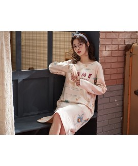 Woman Long Sleeve Cotton Nightgowns Cute Nightdres...