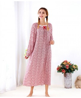 Floral Long Nightgown Ladies Cotton Ankle Length N...