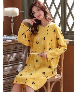 Women Plus Size Korean Version 100% Cotton Nightdr...