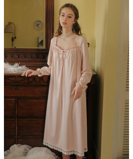 Long White Cotton Sexy Sleep Wear Home Dress Princ...