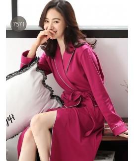 Kimono Print Cotton Robe Nightgown Women Plus Size...