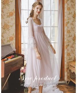Fashion Cotton Sleepwear Loose Women Long Knee-len...