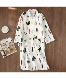 Summer 100% Cotton Gauze Kimono Bathrobe Nightie F...