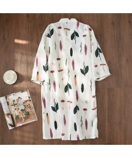 Summer 100% Cotton Gauze Kimono Bathrobe Nightie Full-length Japanese Womens Nightgown