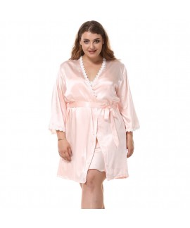 Floral Trim Female Silk Nightwear Plus Size Women ...